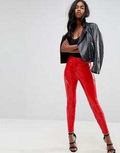 Зауженные виниловые брюки ASOS - Красный