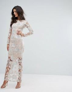 Премиум-платье макси с цветами из пайеток River Island - Бежевый