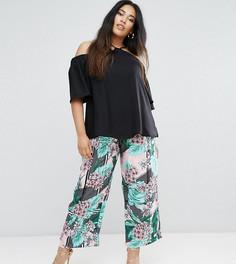 Укороченные брюки с широкими штанинами и цветочным принтом River Island Plus - Мульти