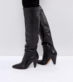 Кожаные сапоги с конусообразными каблуками ASOS CARRIE - Черный