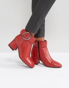 Кожаные ботинки на среднем каблуке с пряжкой Park Lane - Красный