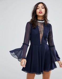 Платье мини с расклешенными рукавами и отделкой на шее ASOS - Серый