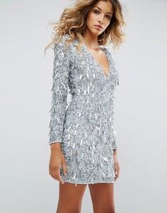 Платье мини с бахромой ASOS Premium - Синий