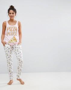Пижамный комплект с принтом Pizza Please Bravesoul - Розовый