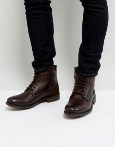 Коричневые кожаные ботинки Steve Madden Hardin - Коричневый