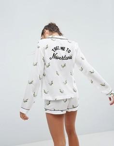 Пижамный комплект с рубашкой и шортами из 100% модала ASOS - Мульти