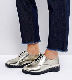 Туфли на плоской подошве для широкой стопы из премиум-кожи ASOS MARIANNE - Золотой