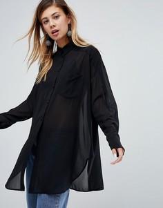 Полупрозрачная блузка Monki - Черный