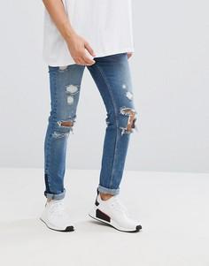 Синие рваные джинсы скинни с молнией ASOS - Синий