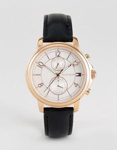 Часы с хронографом и черным кожаным ремешком Tommy Hilfiger 1781817 - Черный