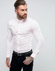 Розовая приталенная строгая рубашка River Island - Розовый