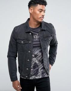 Черная джинсовая куртка River Island - Черный