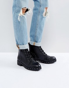 Кожаные ботинки с заклепками и шнуровкой ALDO Cirien - Черный