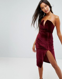 Бархатное платье без бретелек Glamorous - Красный