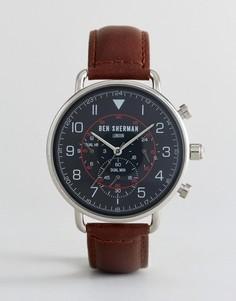 Часы с коричневым кожаным ремешком Ben Sherman WB068BBR - Коричневый