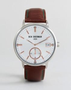 Часы с коричневым кожаным ремешком Ben Sherman WB071SBR - Коричневый
