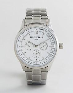 Серебристые часы-хронограф Ben Sherman WB073SM - Серебряный