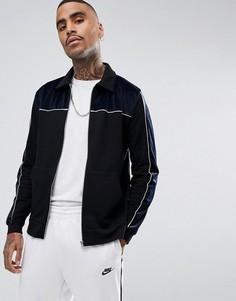 Трикотажная куртка Харрингтон с велюровыми вставками ASOS - Темно-синий