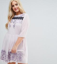 Платье мини с кружевом и вышивкой ASOS CURVE PREMIUM - Фиолетовый
