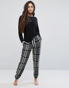 Пижамный топ с длинным рукавом и джоггеры DKNY - Черный