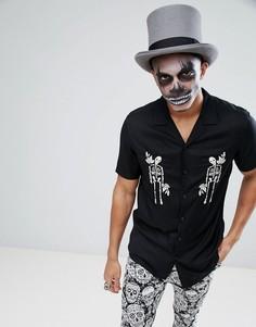 Черная рубашка из вискозы классического кроя с вышивкой скелетов ASOS Halloween - Черный