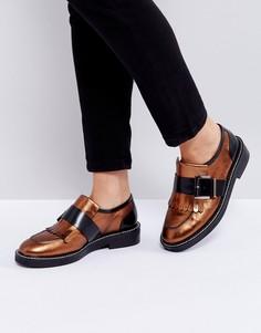 Кожаные туфли на плоской подошве ASOS MASTER PIECE Premium - Медный