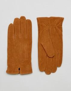 Светло-коричневые замшевые перчатки Barneys - Рыжий Barneys Originals