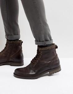 Коричневые кожаные массивные ботинки с теплой подкладкой Jack & Jones Marly - Коричневый