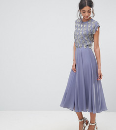 Приталенное платье миди с декорированным кроп-топом ASOS TALL - Фиолетовый