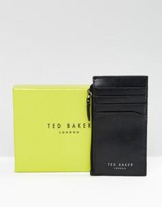 Кожаная кредитница и бумажник на молнии Ted Baker Stichs - Черный