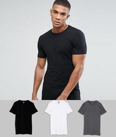 Длинная обтягивающая футболка с круглым вырезом ASOS - Мульти