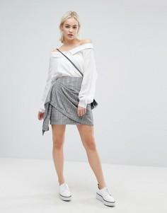 Мини-юбка в винтажную клетку с запахом J.O.A - Мульти J.O.A.