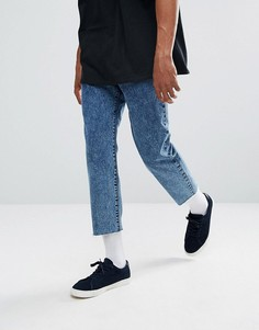 Укороченные темные джинсы с эффектом кислотной стирки Dr Denim Otis - Синий