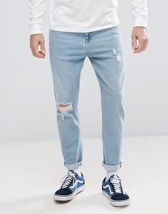 Светлые суженные книзу джинсы с рваной отделкой ASOS - Синий