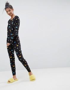Пижама с лонгсливом и леггинсами с принтом ASOS - Мульти