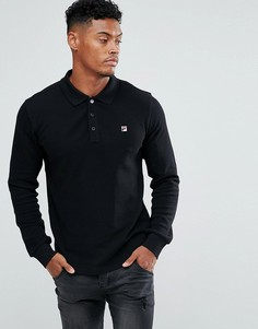 Черная футболка-поло с длинными рукавами Fila Vintage - Черный