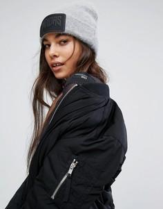 Серая пушистая шапка-бини с большим логотипом adidas - Кремовый
