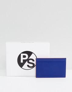 Синий кожаный кошелек для карт с тиснением PS by Paul Smith - Синий