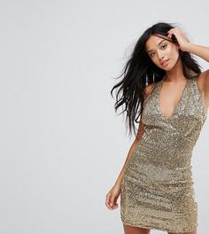Платье с халтером и пайетками Glamorous Petite - Золотой
