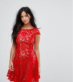 Кружевное короткое приталенное платье Glamorous Petite - Красный