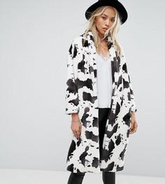 Длинное пальто из искусственного меха с принтом под корову Religion - Мульти