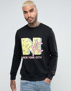Черный свитшот с принтом NYC в стиле 90-х River Island - Черный