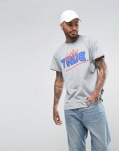 Серая футболка с принтом Stay True в стиле ретро River Island - Серый