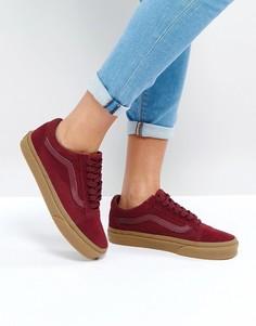 Бордовые кроссовки на резиновой подошве Vans - Красный