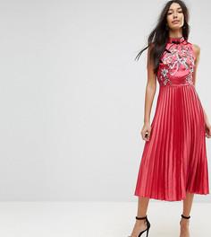 Плиссированное платье миди с вышивкой ASOS TALL - Мульти
