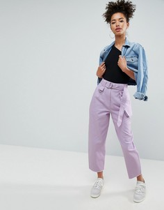 Сиреневые широкие брюки со складками и съемной сумкой-кошельком на пояс ASOS - Мульти