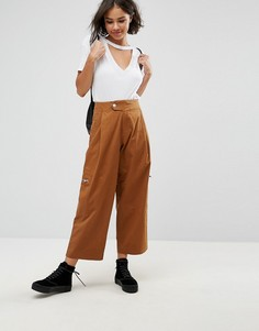 Светло-коричневые укороченные брюки с молниями ASOS DAPHNE - Рыжий