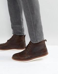 Коричневые кожаные ботинки-броги Red Tape - Коричневый