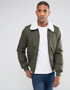 Куртка с воротником борг Threadbare - Зеленый