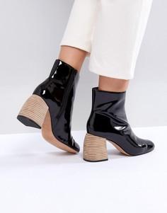Кожаные ботинки на каблуке ASOS WHITE - Черный